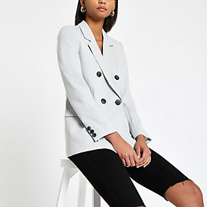 Grey double breasted jersey blazer
