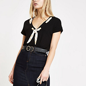 Black scarf neck loose fit T-shirt