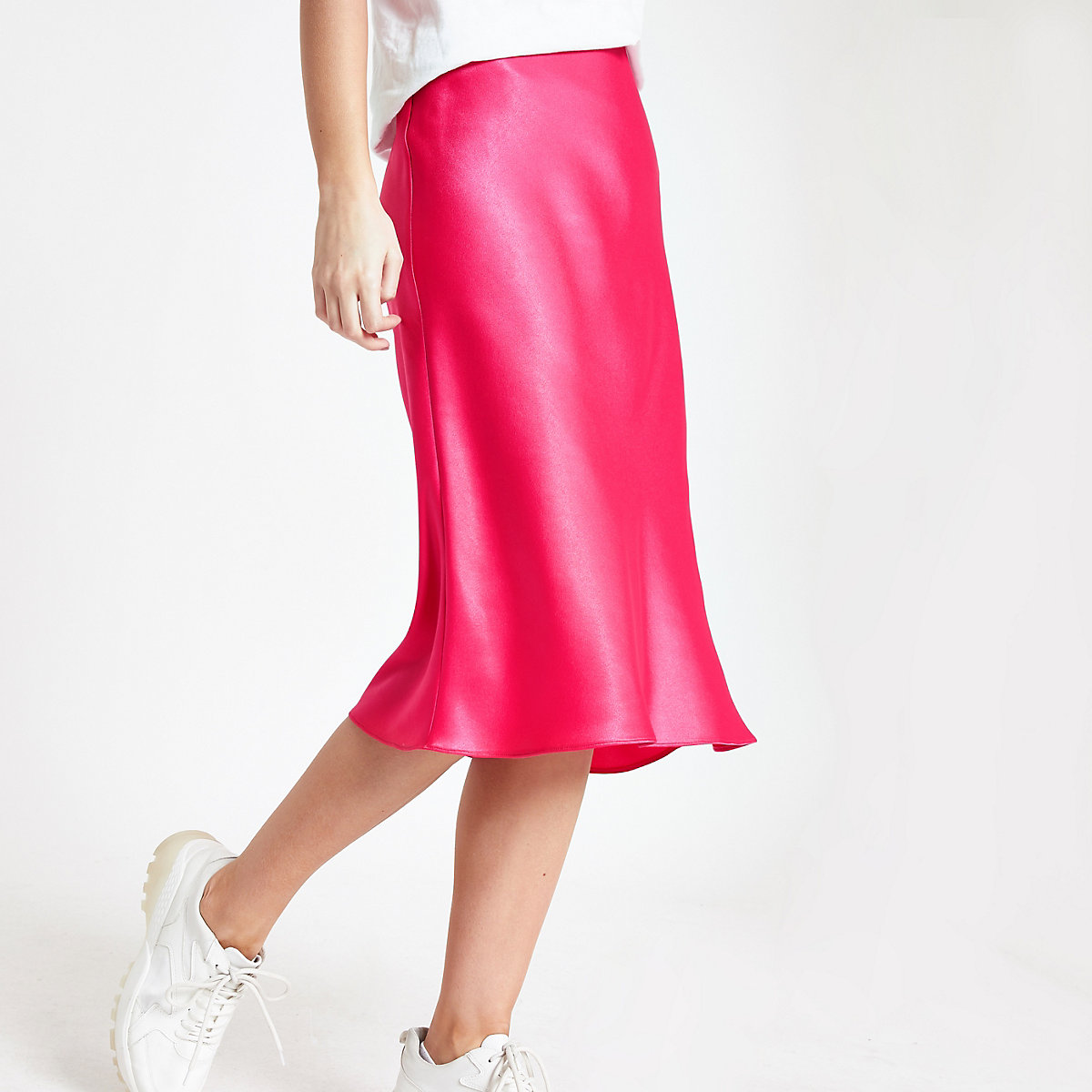 Pink bias cut midi skirt