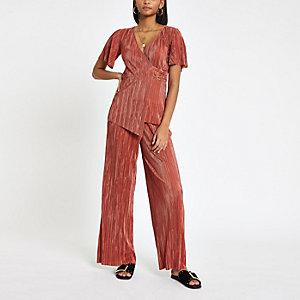 Rust plisse wide leg pants
