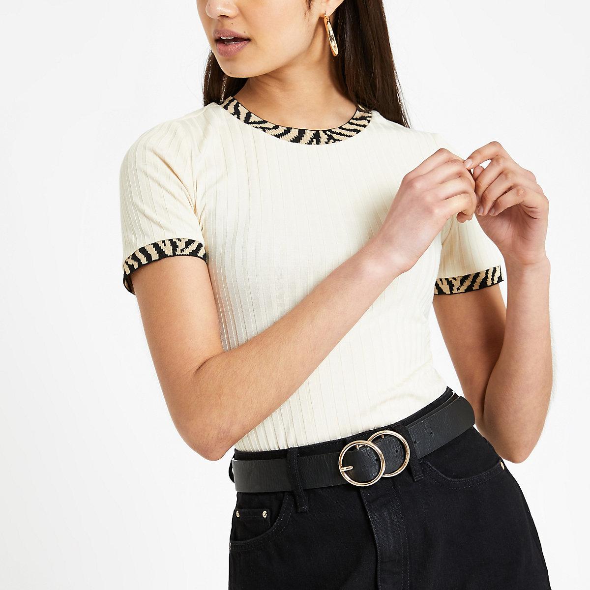 Cream zebra print trim fitted T-shirt