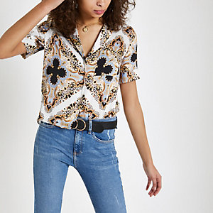 Cream satin baroque print shirt