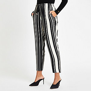 Black stripe print drawstring peg leg trouser
