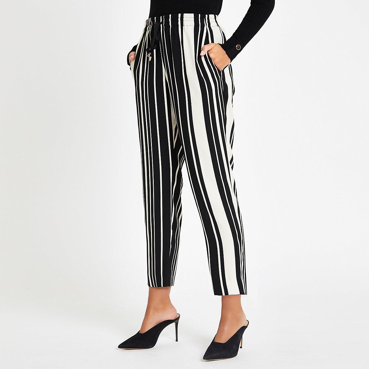 Black stripe print drawstring peg leg trouser