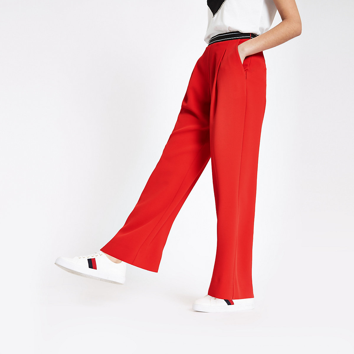 Red elasticated waist wide leg pants