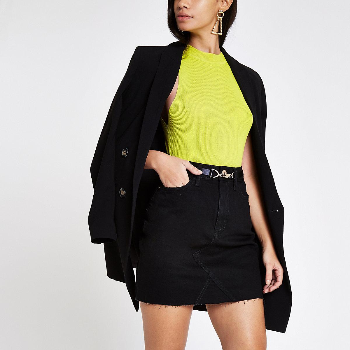 Black belted denim skirt