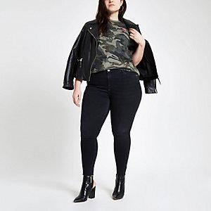 Plus – Grünes T-Shirt mit Camouflage-Muster