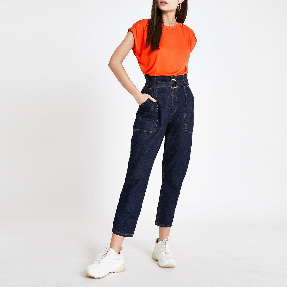 Orange faux button T-shirt
