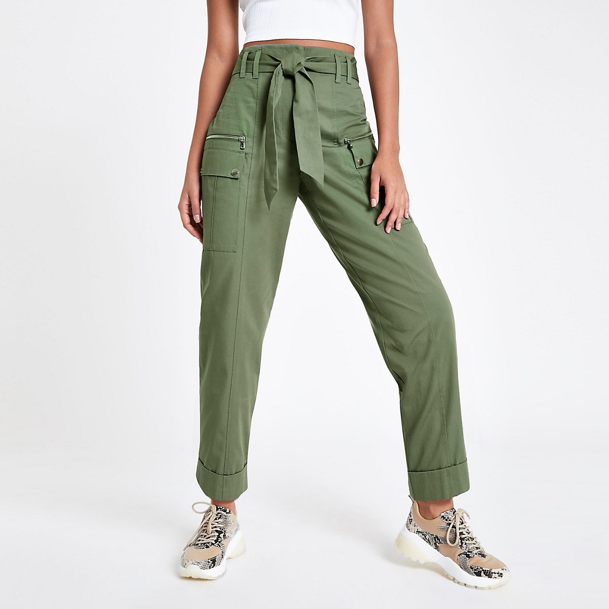 Khaki utility peg trousers