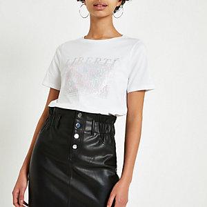 White 'Liberte' foil print T-shirt