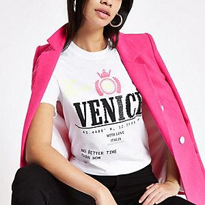 Wit T-shirt met 'Venice'-print en pailletten