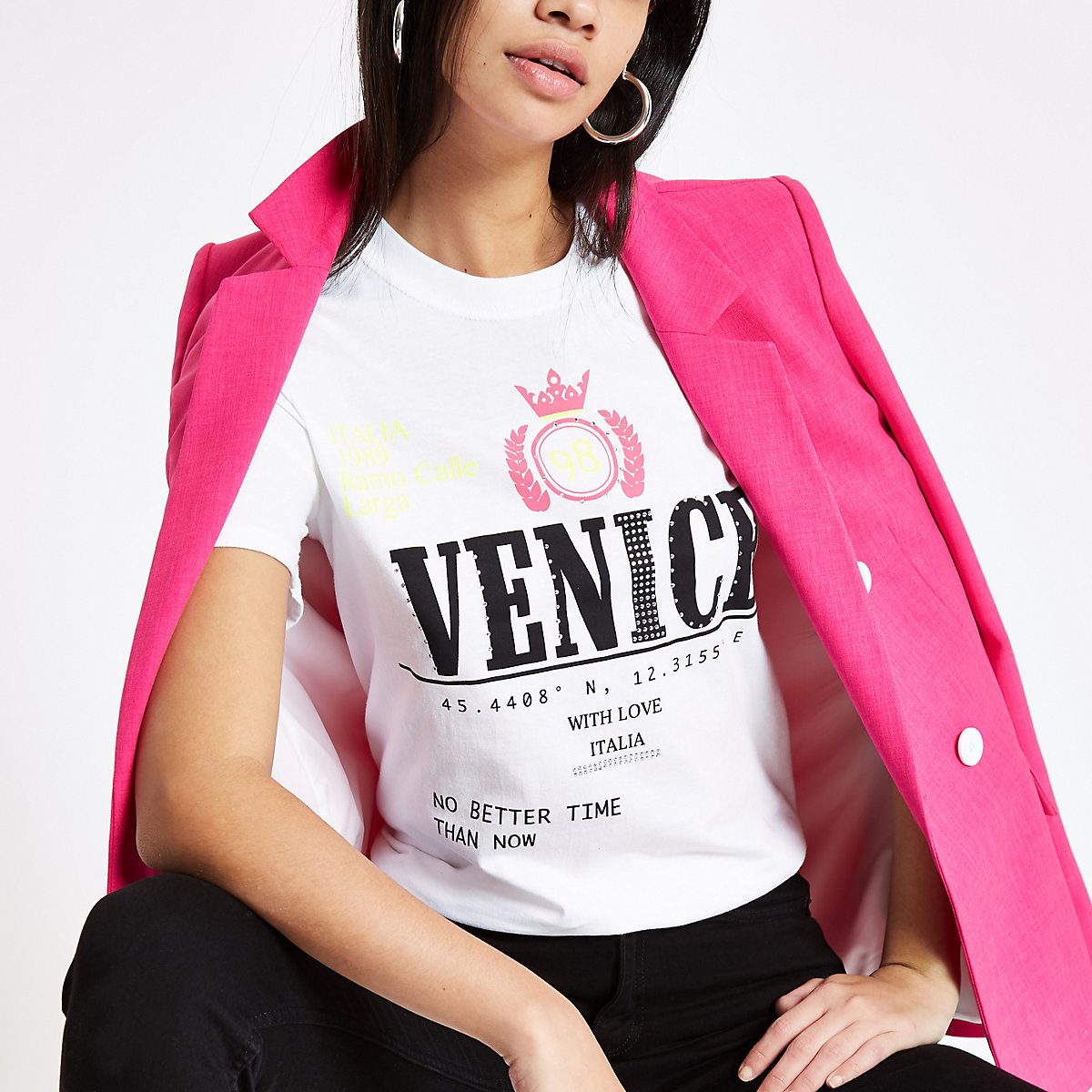 White 'Venice' sequin T-shirt