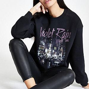 Zwart sweatshirt met pailletten en 'Violet rain'-print