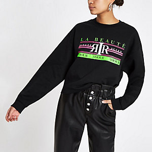 Black 'La beaute' neon print sweatshirt