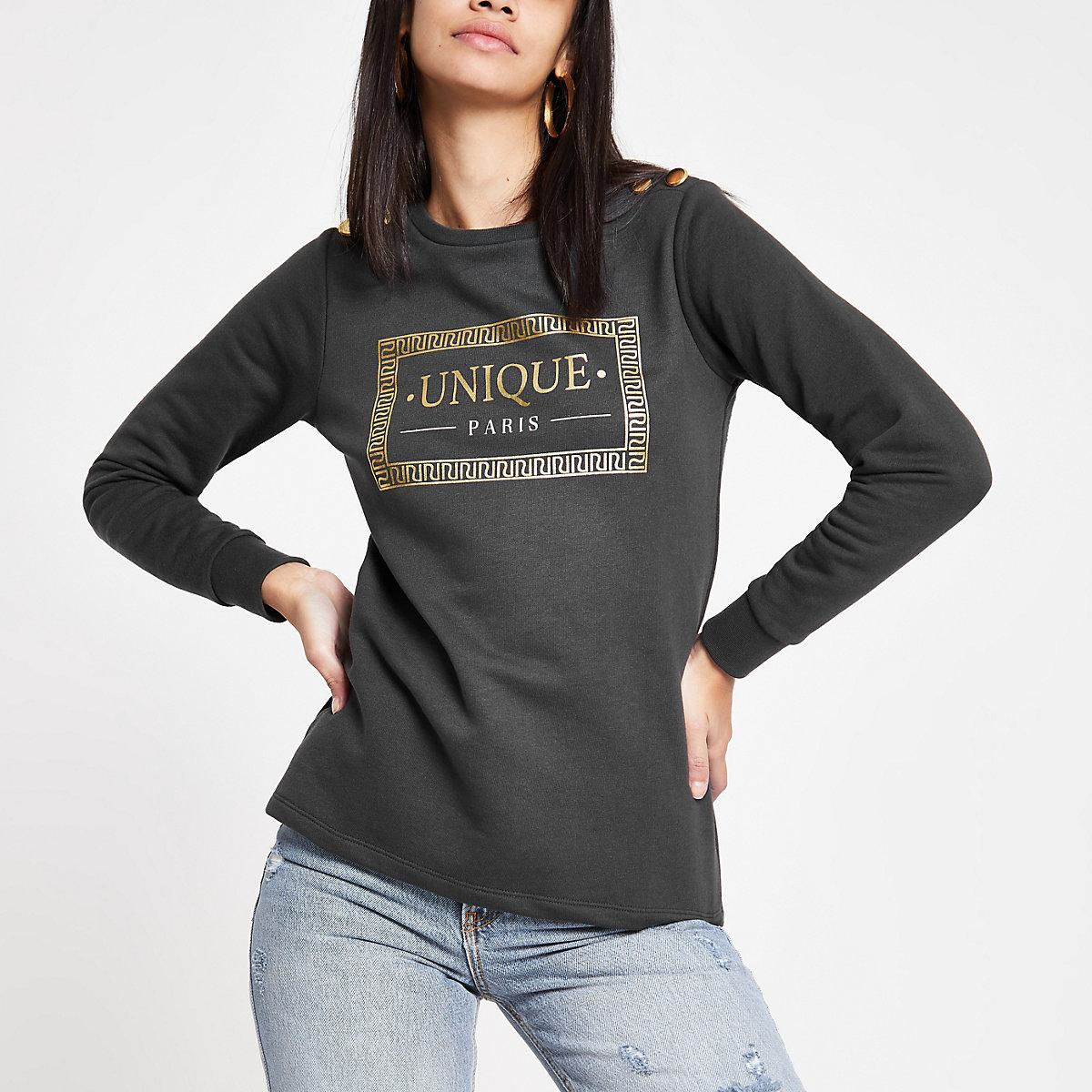 Grey foil print button detail sweatshirt
