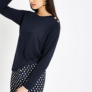 Marineblauw sweatshirt met knopen op de schouder