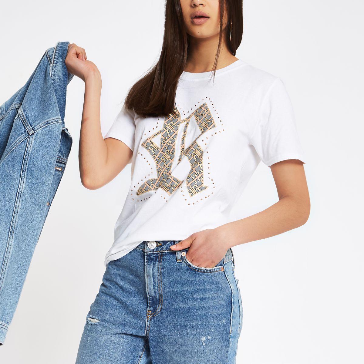 White RI print family twinning T-shirt