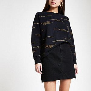 Zwart gestreept sweatshirt met ronde hals en print
