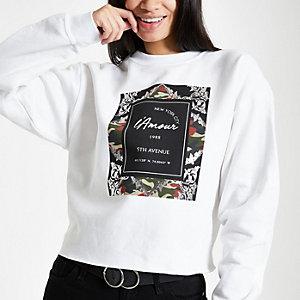 Wit sweatshirt met barok- en camouflageprint
