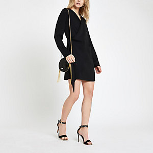 Black wrap swing dress