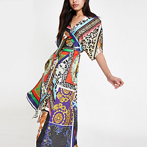 Black multi print asymmetric midi dress