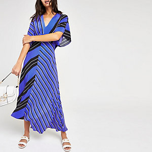 Blue stripe assyemtric hem dress