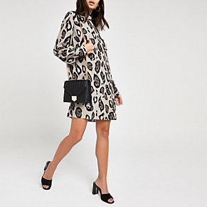 Brown leopard print high neck swing dress