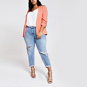 Plus neon orange ruched sleeve blazer