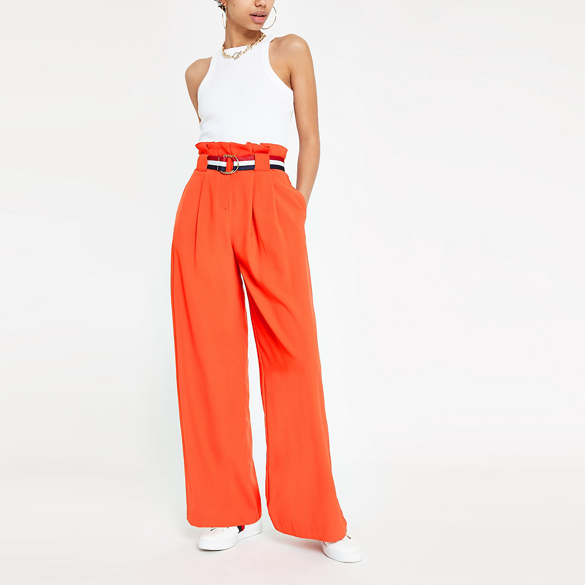 Red belted wide leg pants