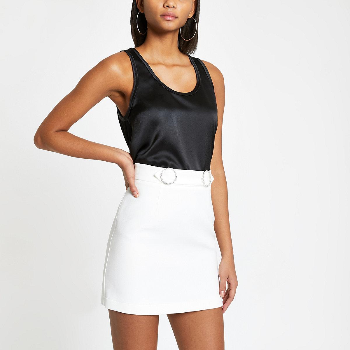 White diamante trim mini skirt