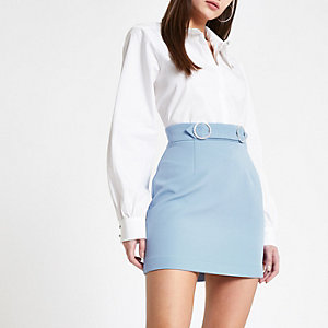 Blue rhinestone trim mini skirt
