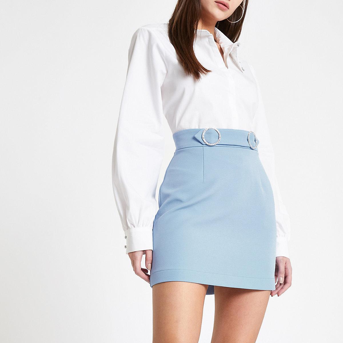 Blue rhinestone trim mini skirt