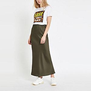 Khaki bias cut maxi skirt
