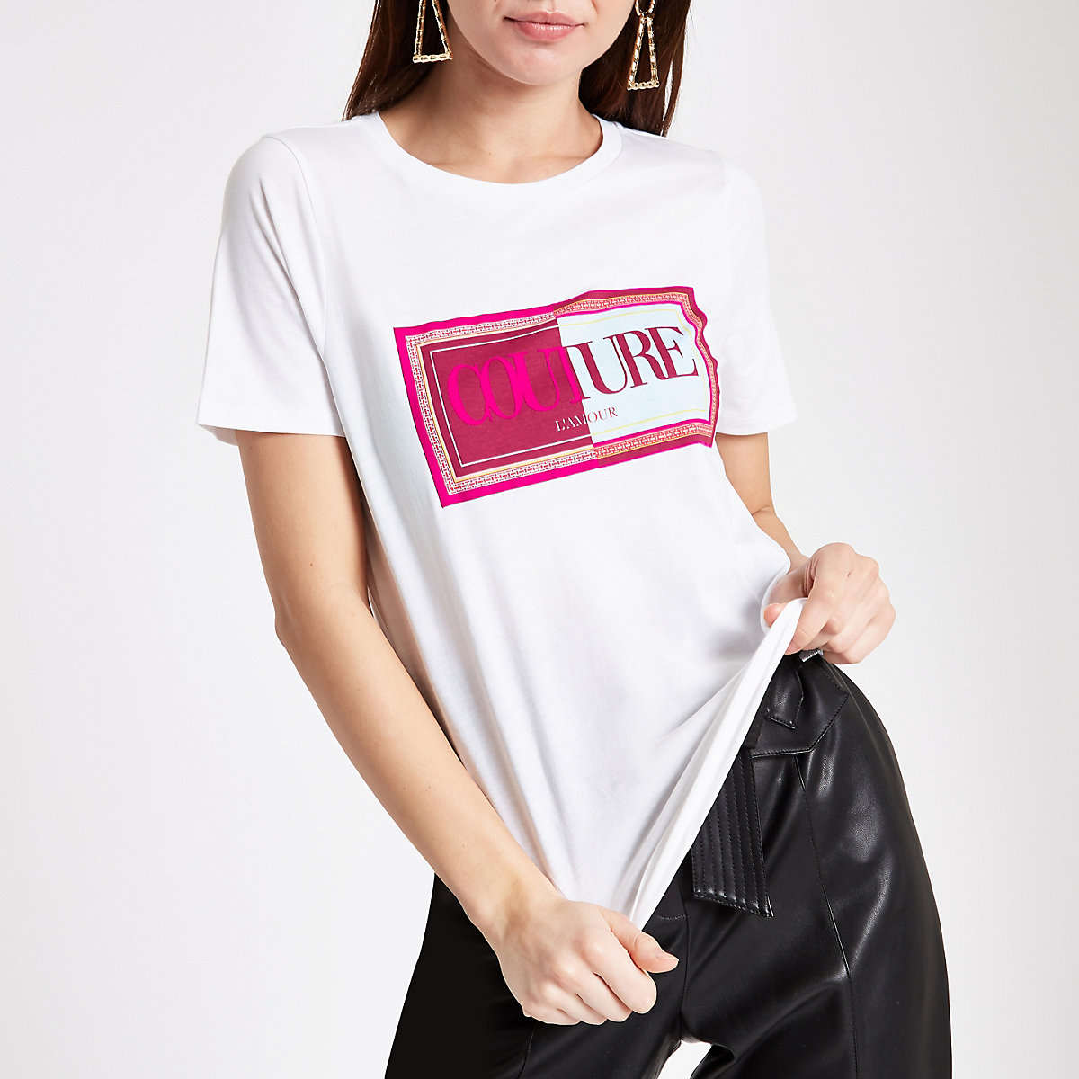 White 'Couture' flock print T-shirt