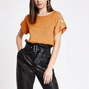 Oranje satijnen T-shirt met korte mouwen