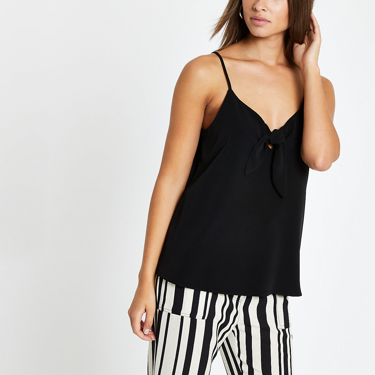 Black bow front cami top
