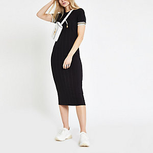 Black ribbed midi bodycon dress