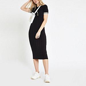 Figurbetontes mittellanges Kleid in Schwarze