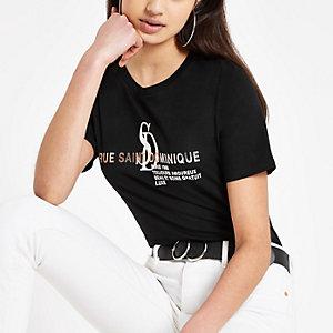 Zwart T-shirt met folieprint