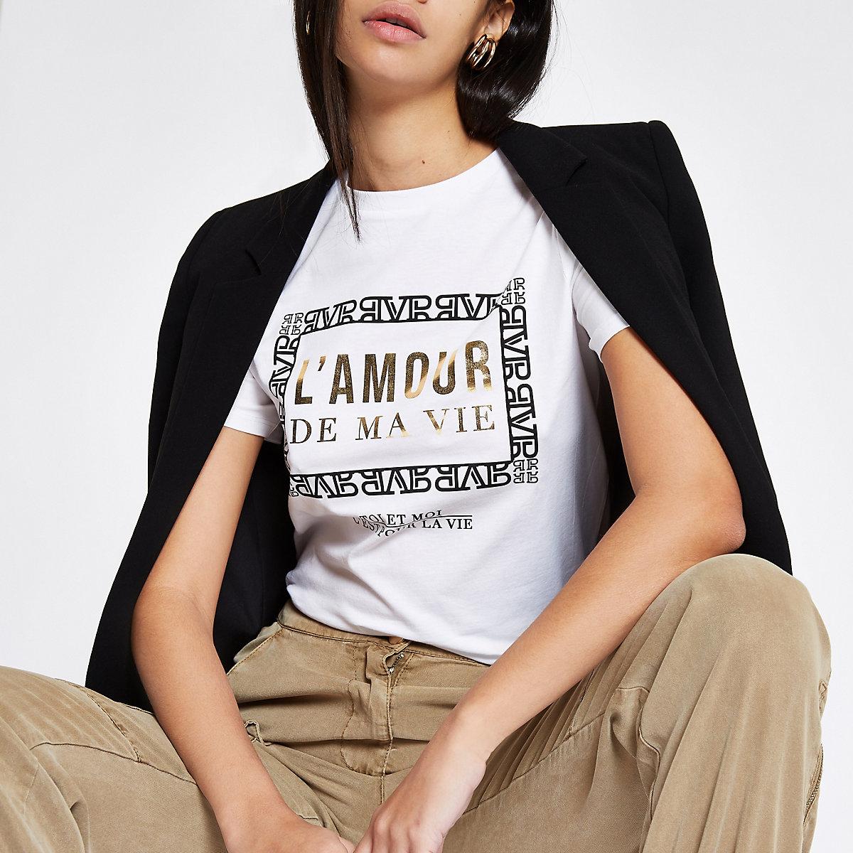 White 'L'amour' foil print T-shirt