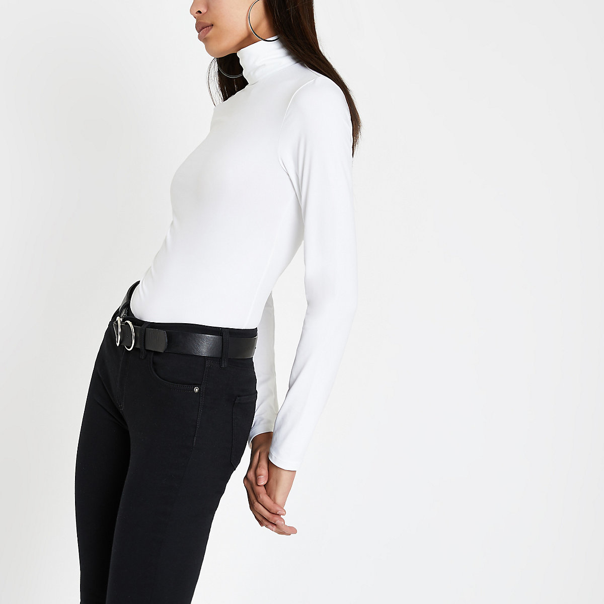 White slinky roll neck top