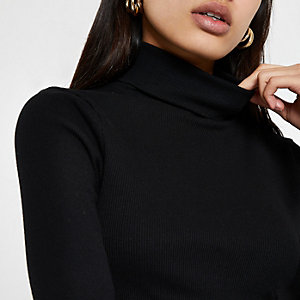 Black rib long sleeve roll neck top