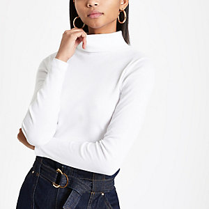 White rib long sleeve roll neck top