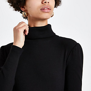 Black puff sleeve turtle neck top