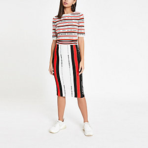 White stripe word print knitted midi skirt