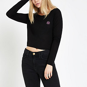 Black RI loose fit crop top