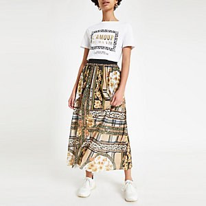 Brown scarf print pleated midi skirt