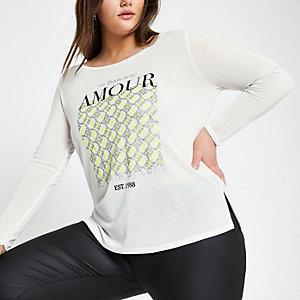 Plus white neon print long sleeve T-shirt