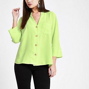 Chemise vert citron à manches longues