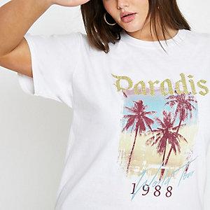 Plus – Weißes T-Shirt mit Pailletten